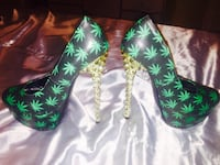green-and-black floral leather boots Los Banos, 93635