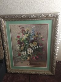 green and pink flower painting with brown wooden frame El Paso, 79936
