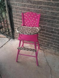 Leopard and pink wooden high chair