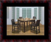 Marble tall table with 4 leather chairs Oxon Hill