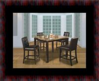 Marble tall table with 4 leather chairs