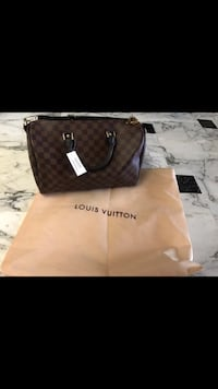 Borsa a mano a due manici Damier Ebene in pelle Louis Vuitton Naples