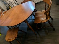 two brown wooden pedestal tables London, N6A