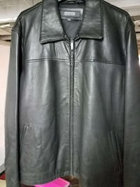 black Kenneth Cole Reaction leather full-zip jacke Upper Darby