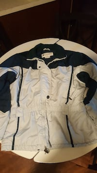 white and black Columbia jacket