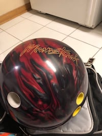 Red and black meansteak bowling ball Mississauga, L5V 2N1