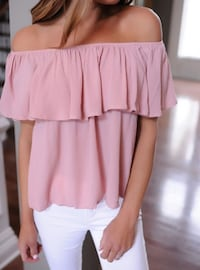 Pink Off The Shoulder Ruffle Top