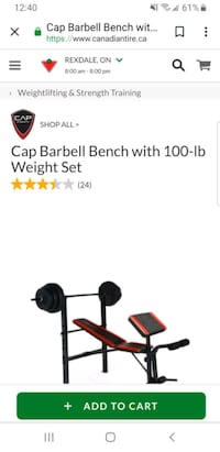 Barbell bench with 100-lb bought it for $250 at Ca Toronto, M9V 3T1