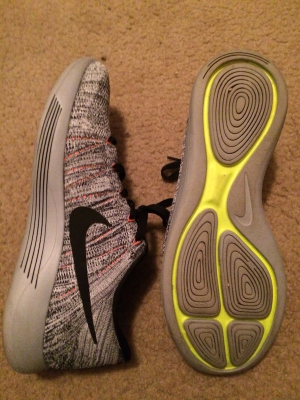 Pair of gray nike running shoes, like new. men's size 11