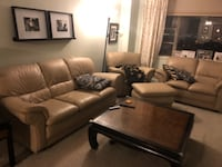 brown leather 3-piece sofa set WASHINGTON