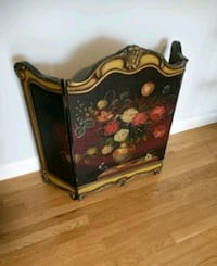 brown wooden floral print chest