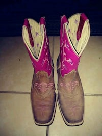 pair of pink-and-brown leather cowboy boots Edinburg