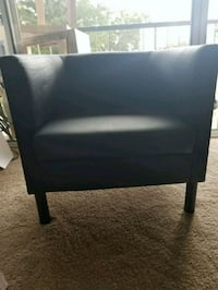 black wooden framed black leather padded chair Vienna, 22180