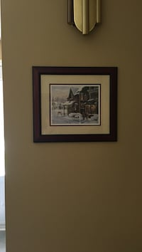 black wooden framed painting of house Ancaster, L9G 2T7