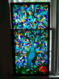 4x2 peacock stained glass Elkin, 28621