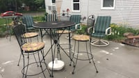 round black metal table with four chairs patio set Crystal, 55422
