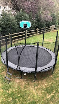 AlleyOop 14' Variable Bounce trampoline with full enclosure, 2-step ladder, ground anchor, and Proflex Basketball Hoop Vienna, 22182