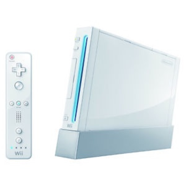 white Nintendo Wii console with controller