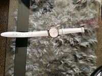 round gold-colored analog watch with white leather watch band Kelowna, V1X 2C4