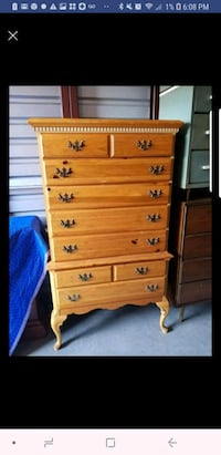 Tall boy all wood chest with dove tailed drawers South Riding, 20152