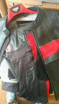 Red and black size 48 riding gear