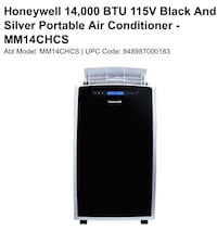 Honeywell 14,000 Btu's Portable air conditioner  Los Angeles, 90029