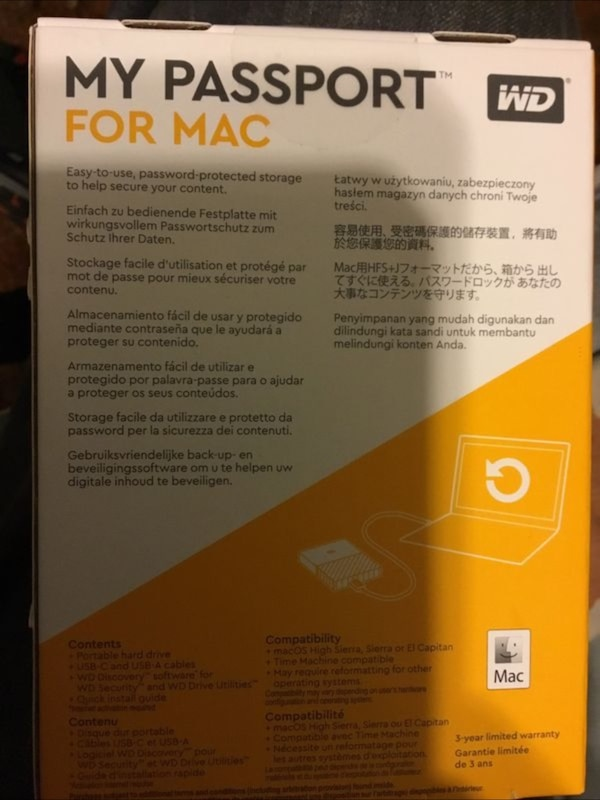 1 TB MyPassport HD Brand New works for MAC and Windows and Gaming Systems