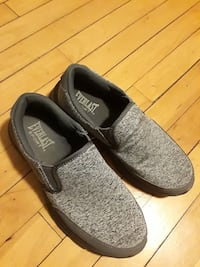 pair of gray-and-black Everlast slip on shoes