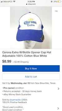 White and blue corona extra adjustable cap with bottle opener screenshot South El Monte, 91733