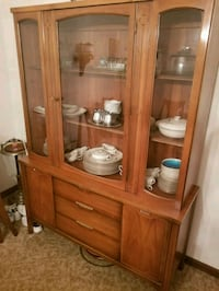 brown wooden framed glass display cabinet Rolling Meadows
