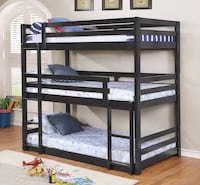 Triple Twin/Full Stackable Bunk Bed, Charcoal, E4539473 (A/B/C) Santa Fe Springs