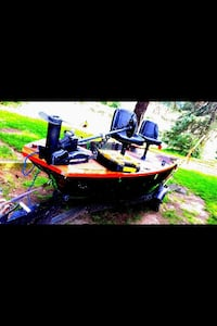 Red and black power boat