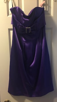 Royal purple satin dress with bow Silver Spring