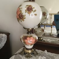 white and brown floral table lamp Los Angeles, 90710