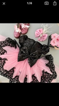Women's black and pink floral dress
