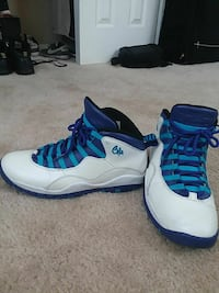 pair of white-and-blue Air Jordan 10