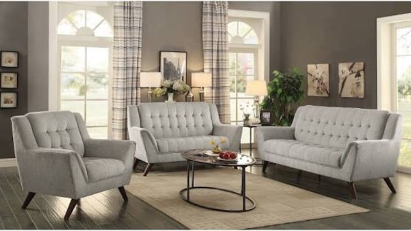 Beautiful New 2pc Tufted Sofa Set 1sofa 1loveseat In Light Grey Color Only