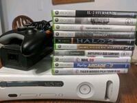 Xbox 360 console with 10 games and 2 controllers 825 mi
