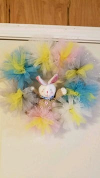 multicolored tulle Easter bunny wreath