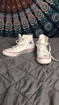 Shoes - High Top Converse (White)  - Female Size 7 Raleigh, 27617