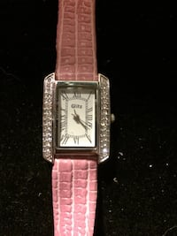 square silver analog watch with pink leather strap Hamilton, L8L 6M8
