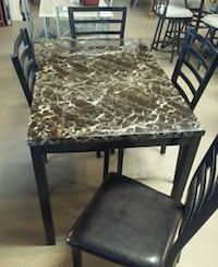 rectangular brown marble top table with four chairs dining set Philadelphia, 19137