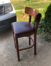 brown wooden framed black leather padded chair Falls Church, 22044