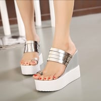 Sexy Silver Toe Ring Wedge Sandles -7.5 Annapolis, 21401