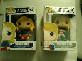 Pop! Supergirl and Powergirl vinyl figures