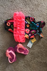 Size 9 month baby swimsuit & summer flip flops Taneytown, 21787