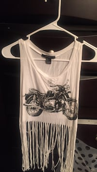 white touring motorcycle printed fringed crop top