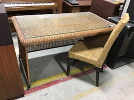 Glass Top Wicker Desk with Chair