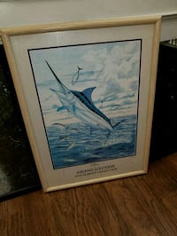 blue and white bird painting with brown wooden frame Port St. Lucie, 34984