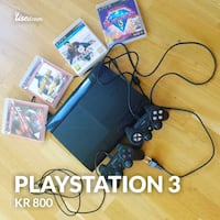 svart Sony PS3 super slank spillpakke sett